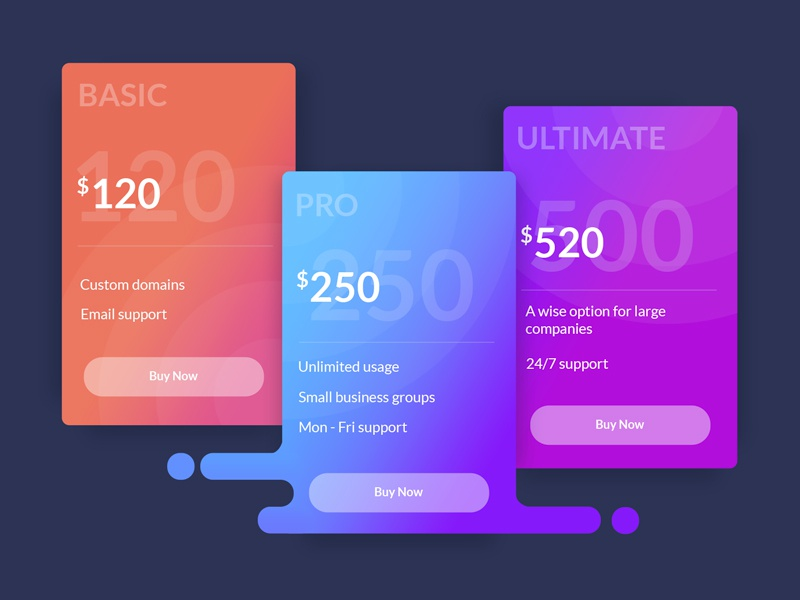 Subscription plans card plan money gradient color table pricing