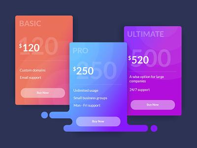 Subscription plans card plan money gradient color table pricing