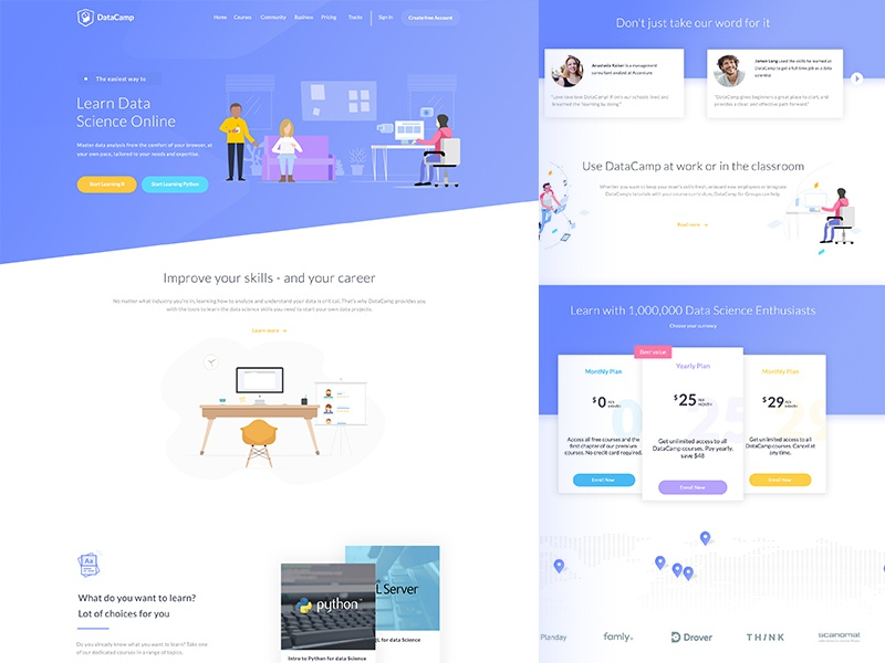 Landing Page Design study course white simple web landing page education data website