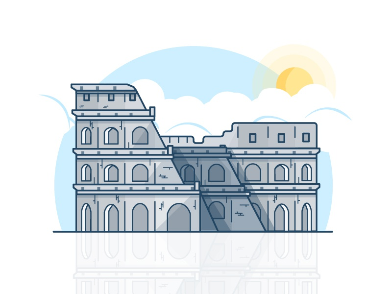 Colosseum vector rome roma monument lineart italy illustration icon colosseum building