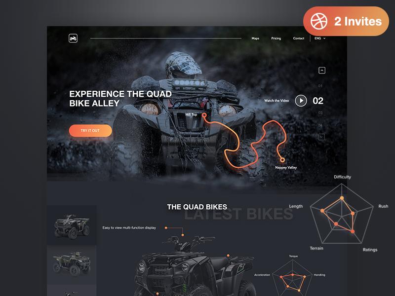 Quad Bike Website: Plus 2 dribbble Invites google hiring dribbble invite glow website web dark transport bike quad