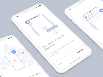 Onboarding Screens iphone x door card scan illustration white google grey scale instruction onboarding