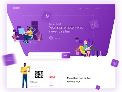 Remote Job Search Engine purple landing page search people office illustration web website job remote