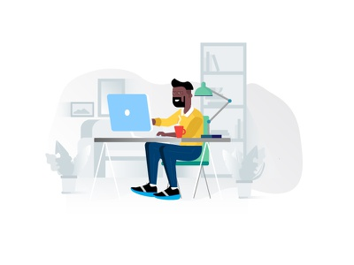 Remote Working: Illustration iphone x door card scan illustration white gif animation onboarding