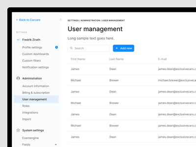 User management settings user experience ux figma web user interface ui