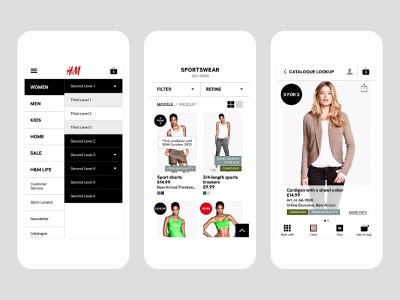 H&M user experience ux user interface ui layout ios ecommerce design app android