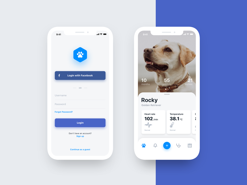 Pet Care App health login ux ui analytics stats simple blue project mockup mobile minimalist material pet ios interface flat clean ui best app