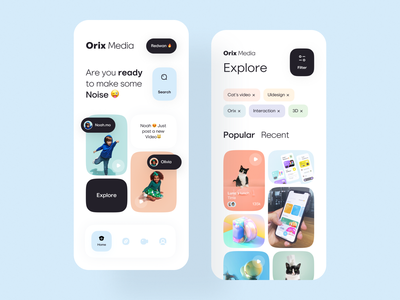 Media App color palette orix illustraion interaction color ui mobile ui mobile apps mobileappdesign mobile app mobileapp mobile minimal interface app