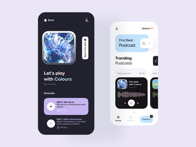 Podcast App mobile design podcast ui mobile ui mobile apps mobileappdesign mobile app mobileapp mobile minimal interface app
