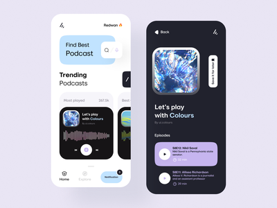 Podcast App mobile design podcast ui mobile ui mobile apps mobileappdesign mobile app mobileapp mobile minimal interface app