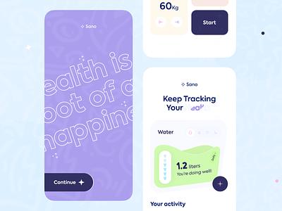 Sano - Health tracker Conceptual App Design. new health care healthtracker health app health ui design design mobile apps mobileappdesign minimal mobile app mobileapp mobile interface app