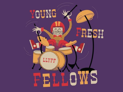 Young Fresh Fellows Mini-Poster illustration mid-century music drums retro