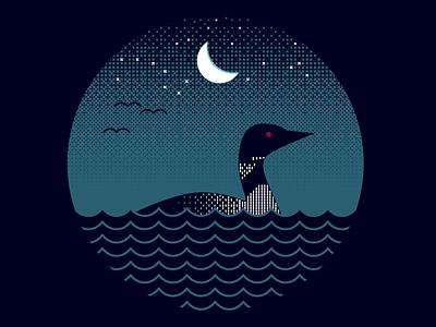 Loon Lake WIP loon stars moon lake wildlife vector illustration