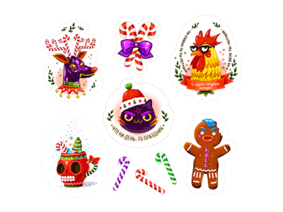 My set of Christmas stickers.