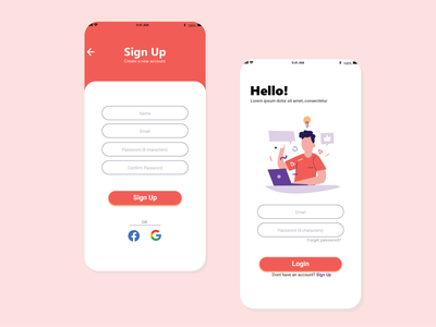 Login page Mobile ui illustration orange experiment dailyuichallenge dailyui user interface design user experience illustrator experience adobexd