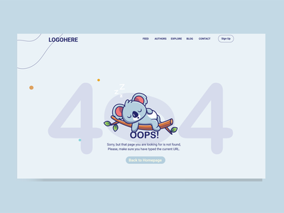 404 error page koala caracter cartoon websites website 404 error page ux ui user interface design user experience illustrator adobexd