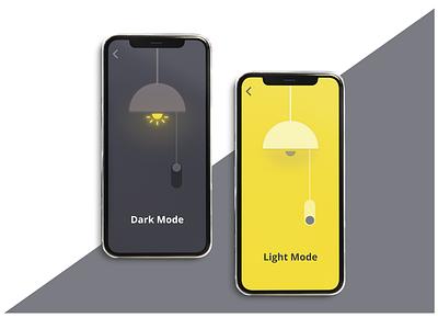 ON/OFF  Switch mobile app design mobile ui dark lights yellows minimalistic switcher onoffswitch darkmode lightmode mobile dailyuichallenge illustration ux user experience adobexd ui