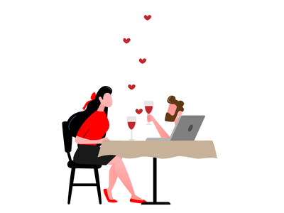 Distance Relationship lovers distance meeting colors valentine day valentine love vector illustration logo illustrator