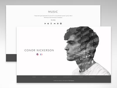 Minimalistic Music Website landing webpage design website photography musician photographer music minimalism