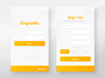 Linguistic Login Flow Refresh iphone android ios app mockup mobile up sign register flow login linguistic