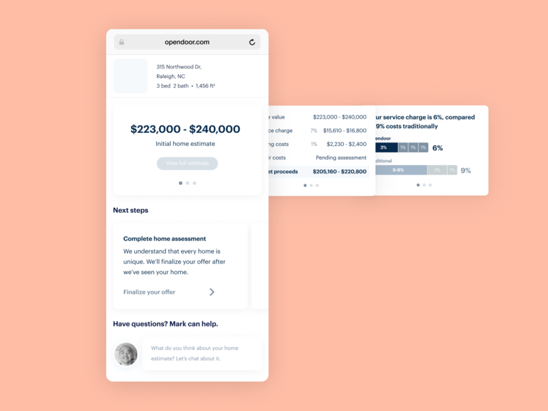 Home Value Dashboard - Wireframe simple chat value dashboard estimate carousel swipe ux figma wireframe product design product ui mobile card