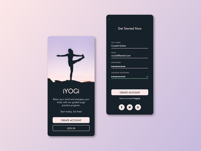 #1 Sign Up - Yoga App health app healthy lavender black uidesign uxdesign website minimal web ux ui design