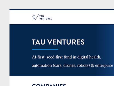 Tau Ventures ui ux branding responsive web design minimal wordpress website