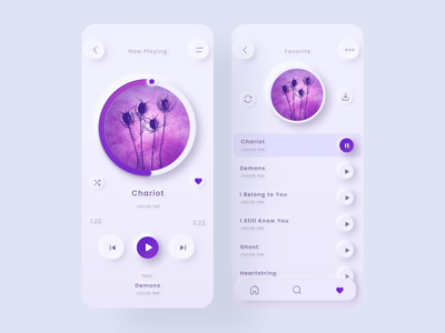 Music Player - Favorite Songs favorite player music songs purple music player ui design design