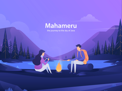Mahameru Landing Page first shot trip gif backpaker hiking mountain ui deisgn motion graphic header after effect landing page animation design illustration
