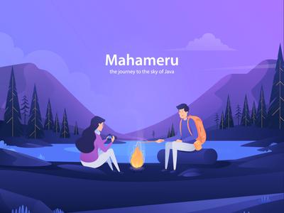 Mahameru Landing Page first shot trip gif backpaker hiking mountain ui deisgn motion graphic header after effect landing page animation design illustration