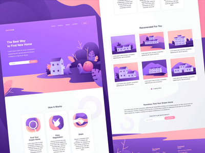 Snail's House Landing Page Animation scroll animation website interaction motion purple fun real estate house home snail landing page ui illustration after effect landing page concept landing page animation