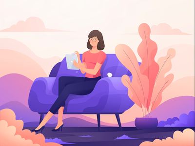 Girl n Gadget sweet dope relax holiday smooth cool ipad afternoon sofa after effects beauty purple butterfly gadget chills girl motion soft gradient 2d animation animation