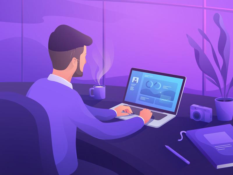 Back To Work soft gradient purple good vibes comfortable coffee programmer codding work desk workspace work illustration
