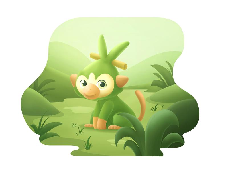 Grookey green digital painting photoshop illustration grass nintendo character design grookey pokemon
