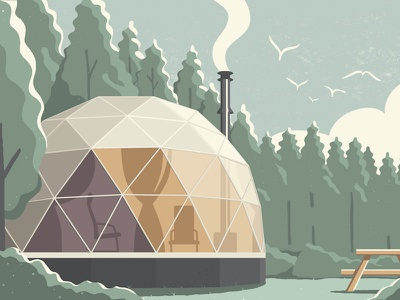 Air Canada enRoute nature geodesic dome architecture camping air canada enroute glamping illustration
