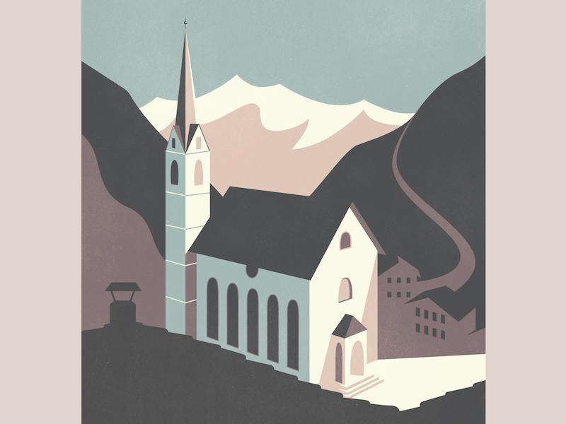 Brenner Pass vintage travel illustration church austria alps brenner pass