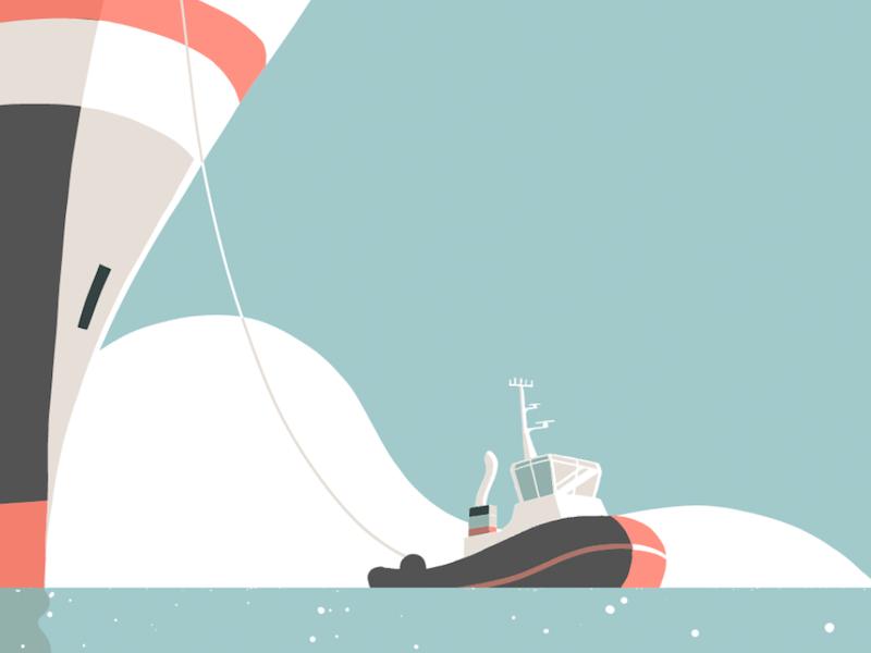 Tugboat ship tugboat sea illustration
