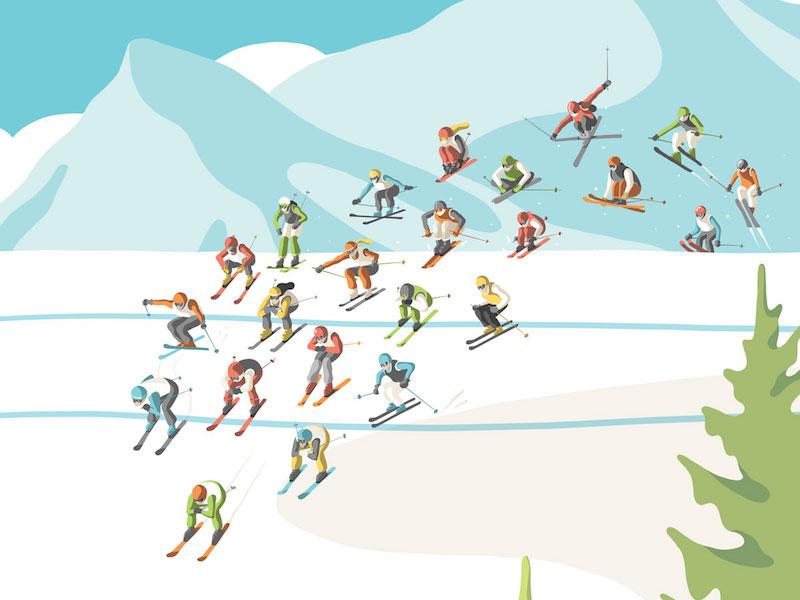 Toyota Poster ski olympics winter poster illustration