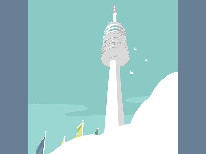 Olympiaturm apple pencil tower ipadpro illustration munich olympiaturm