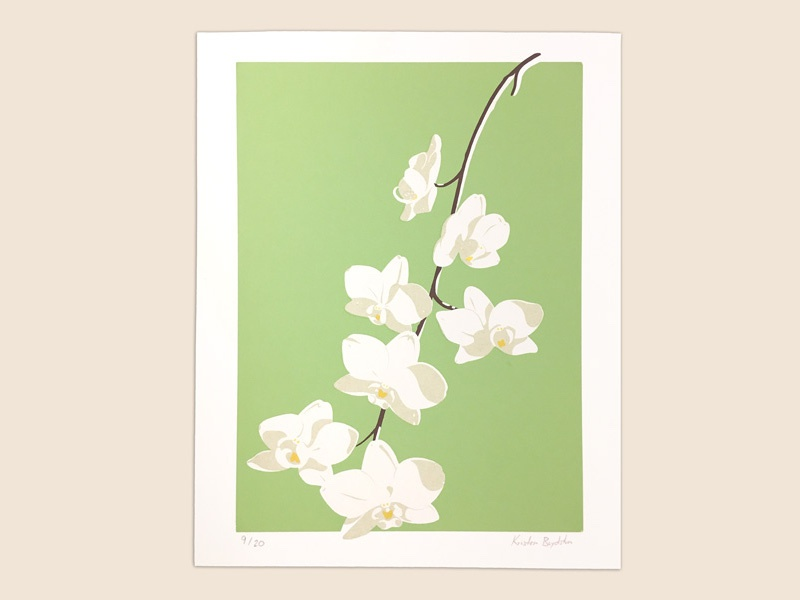 white orchid green screenprint print orchidee orchid