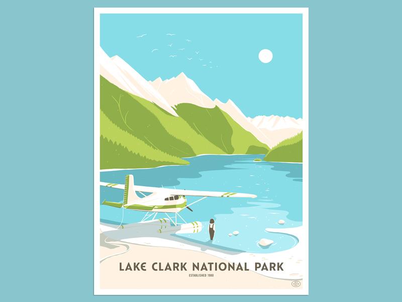 Lake Clark National Park Poster float plane poster design illustration poster lake clark national park