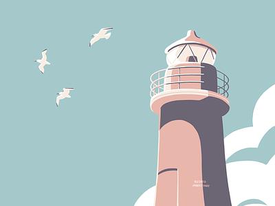 Lighthouse seagulls screen print lighthouse illustration