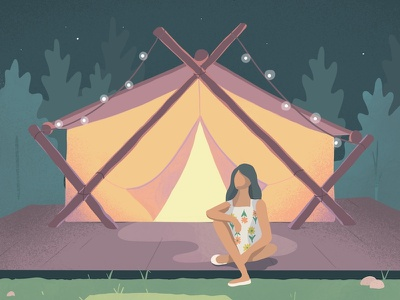 Glamping camping procreate illustration glamping