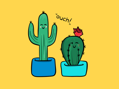 OUCH... it's hard to be a cactus 🌵 ouch cactus doodles adobe illustrator design vector adobe illustration fresco
