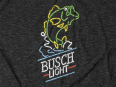 Busch Light Bass Neon Tee Design for theCHIVE collaboration thechive beer busch light shirt design tee design screen print print neon digital illustration apparel design