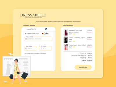 Dressabelle: An Online Shopping Paradise 100daysofui payment check out website design user interface graphic design figma ui dailyui