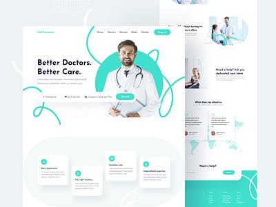 Lab Science Landing Page branding white product minimal landing interface web ui creative illustrator landingpage webdesign doctor medical
