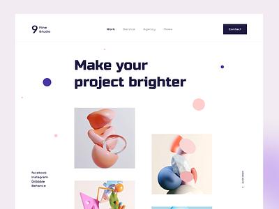 Agency Portfolio Exploring color blur agency website app logo branding product clean webdesign illustrator portfolio minimal website header design interface landing