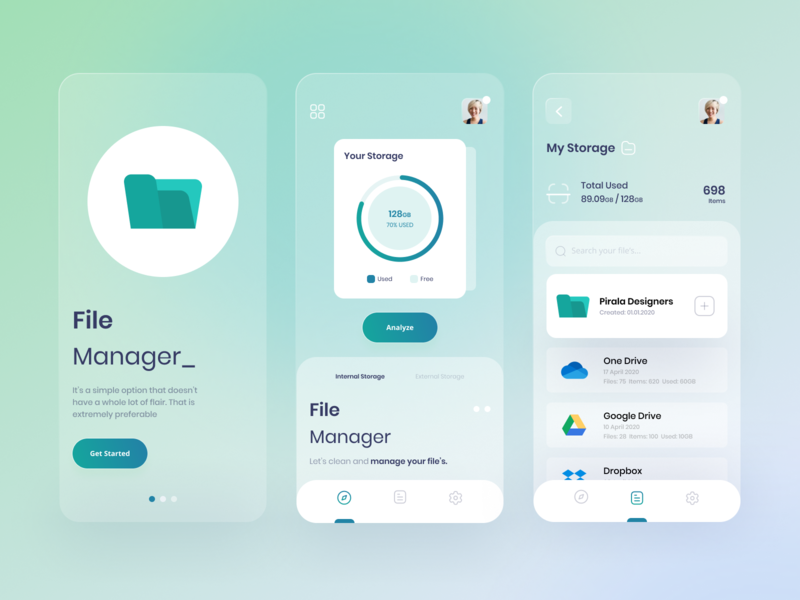 File Manager App ux ui interface clean product folder mobile application web app 2020 app design ios app share file manager file upload