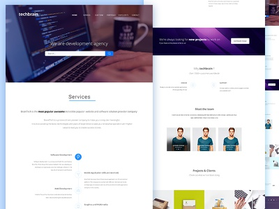 Techbrain Landing Page  web ui page operations minimal marketing landing design clean agency